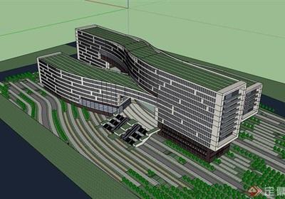 现代详细总部办公概念设计su模型