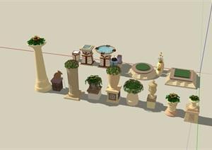 欧式风格详细的花钵水钵小品素材设计SU(草图大师)模型