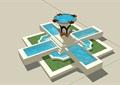 详细的完整水池水钵素材设计su模型