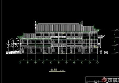 仿古商业建筑详设计cad图