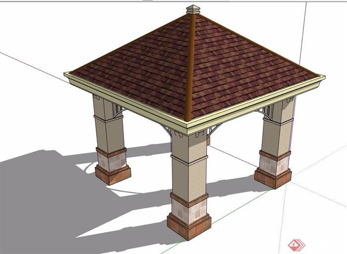 欧式经典完整详细的亭子素材设计su模型