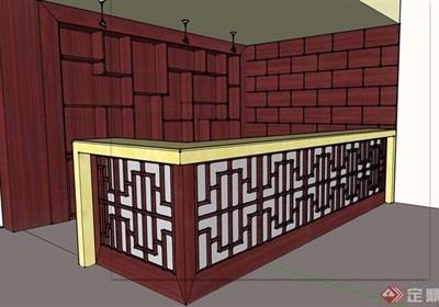 中式吧台素材设计su模型