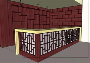 中式吧台素材设计SU(草图大师)模型
