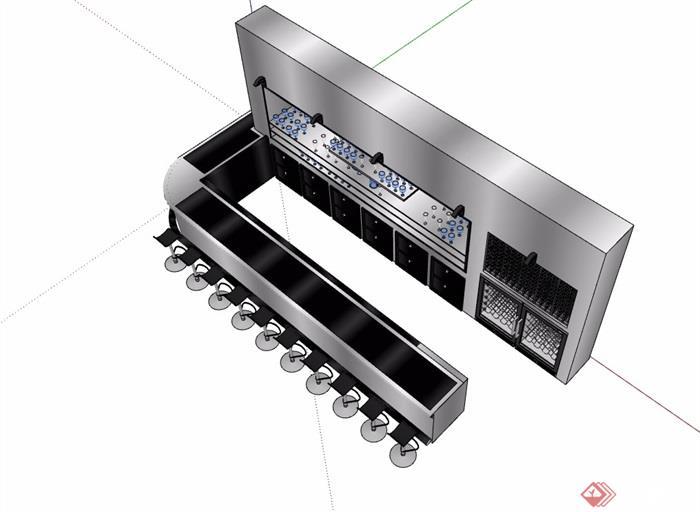 现代酒吧吧台素材设计su模型