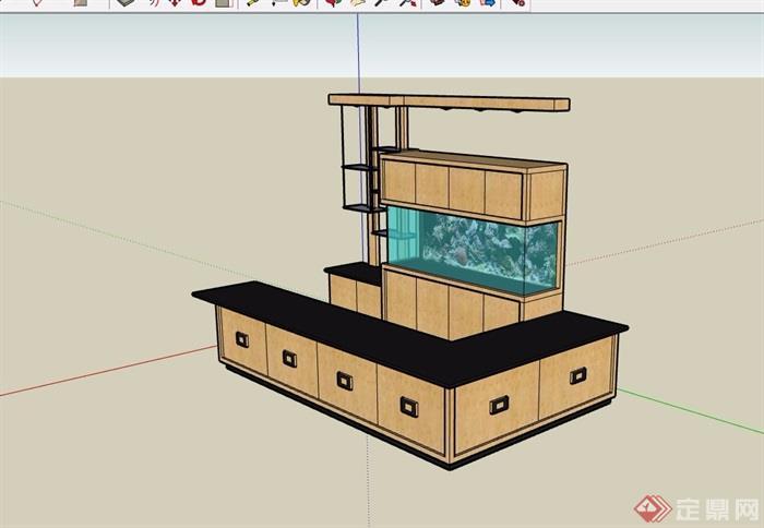 现代风格详细吧台素材设计su模型