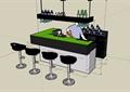 簡單的酒吧吧臺素材su模型