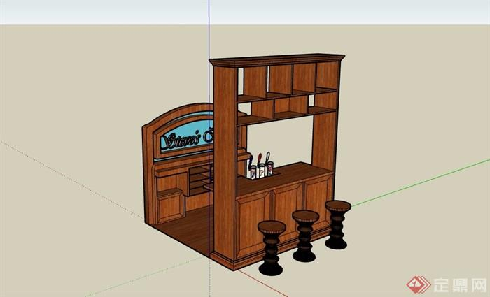 全木質詳細的吧臺素材設計su模型