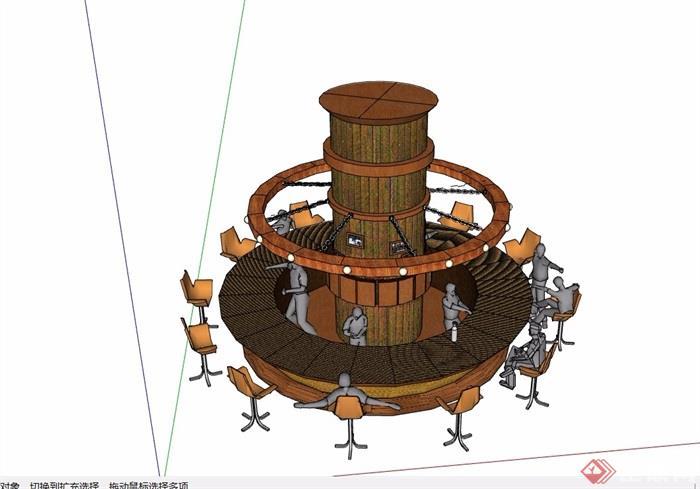 圓形詳細的吧臺素材設計su模型