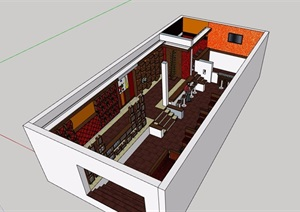 现代风格餐饮详细空间设计SU(草图大师)模型