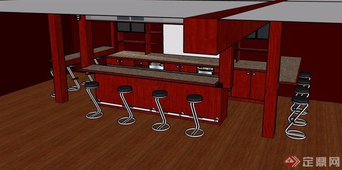 吧台及坐凳素材设计su模型