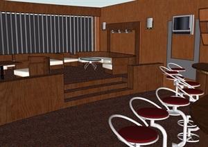 详细的整体餐饮空间详细设计SU(草图大师)模型