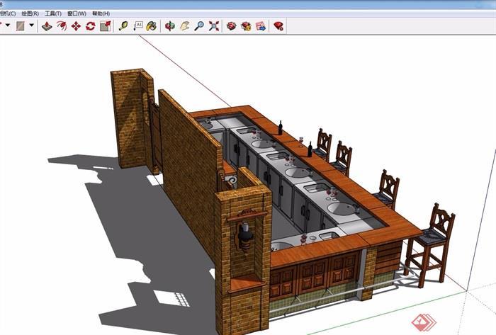 某详细的完整吧台素材设计su模型