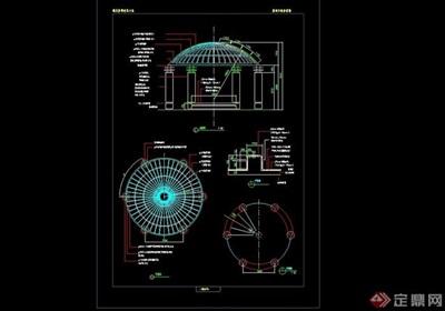 圆形详细完整的亭子素材设计cad施工图