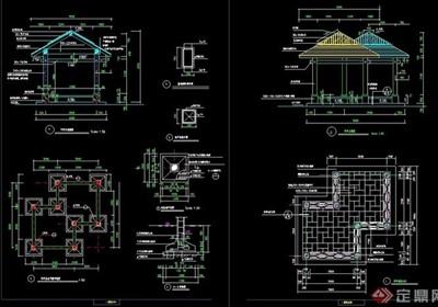 详细的完整亭子素材cad施工图