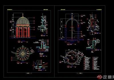 欧式详细的精致详细完整亭子cad施工图