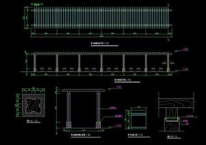 详细的景观长廊素材cad施工图