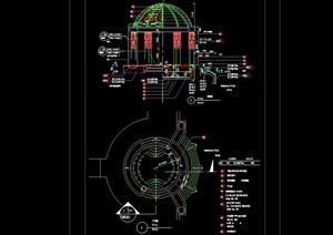 详细的美式风格圆形亭子cad施工图