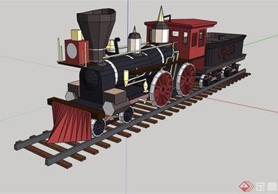 园林景观火车头小品素材su模型
