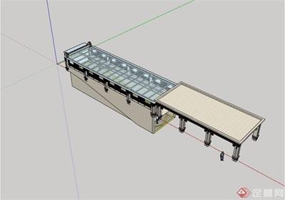 新古典风格车库口廊架素材su模型