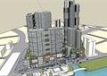 某现代风格商业办公及酒店综合体建筑楼su模型