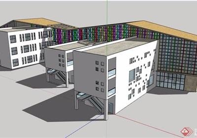 现代风格详细的完整文化展览馆设计su模型