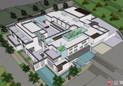 现代风格详细完整的多层文化馆设计su模型