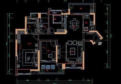 欧式三室两厅两卫家装设计图纸