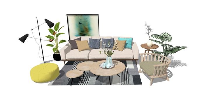 现代客厅沙发 茶几 桌子 植物 落地灯地毯(1)