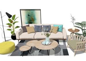 现代客厅沙发 茶几 桌子 植物 落地灯地毯SU(草图大师)模型