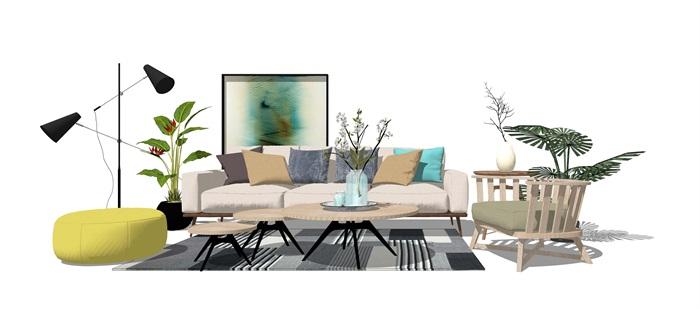 现代客厅沙发 茶几 桌子 植物 落地灯地毯(2)