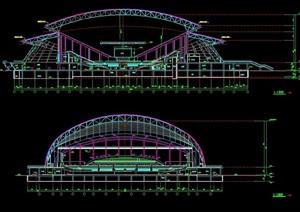 某临海体育馆建筑设计cad方案图
