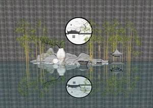新中式景观小品 滨水 鹅卵石 竹子 陶罐组合SU(草图大师)模型