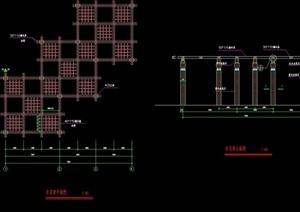 某详细的木质花架廊设计cad施工图
