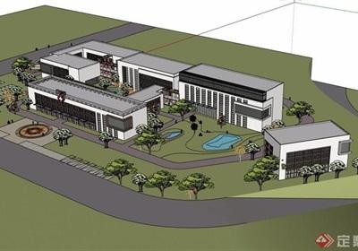 现代风格多层详细的医院建筑设计su模型