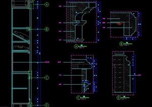 装饰柱、门扇、吊顶剖面大样图