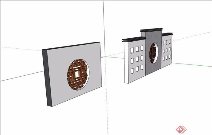 两个中式详细的完整的景墙素材设计su模型