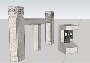 中式石栏杆素材设计SU(草图大师)模型