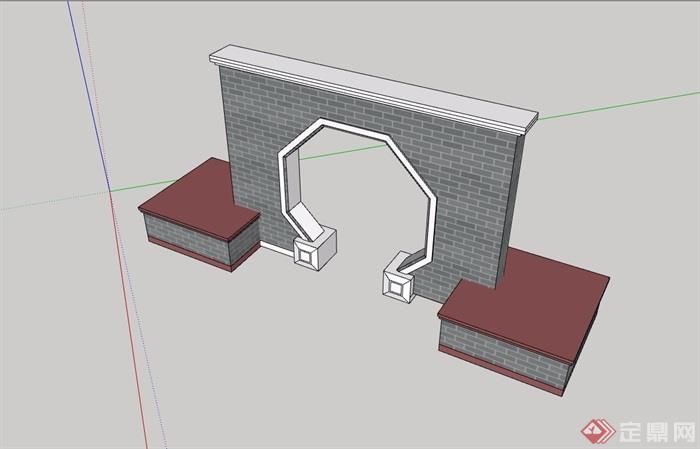 现代中式详细的景墙素材设计su模型