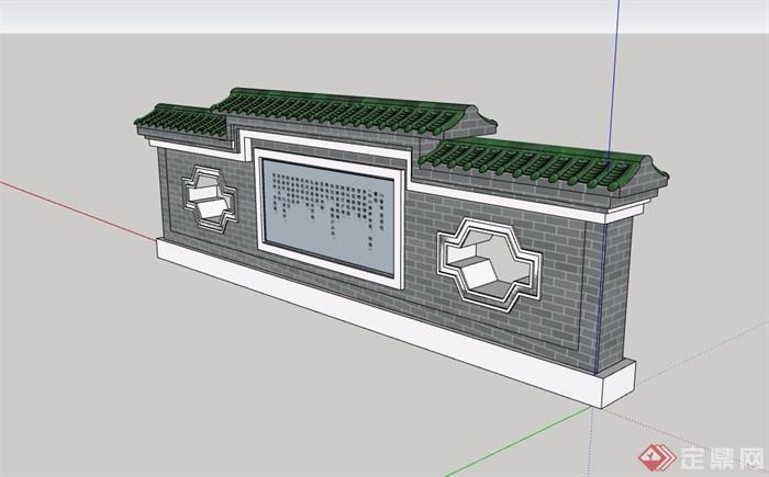 现代中式详细景墙素材设计su模型