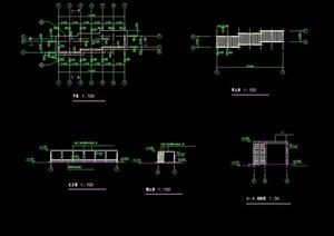 详细的经典三段式花架设计cad施工图