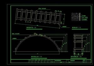 详细完整的弧形花架设计cad施工图