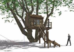 木质详细树屋素材设计SU(草图大师)模型