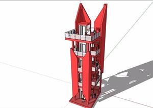 详细的现代景观塔素材设计SU(草图大师)模型