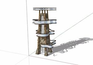 详细的景观塔完整设计SU(草图大师)模型