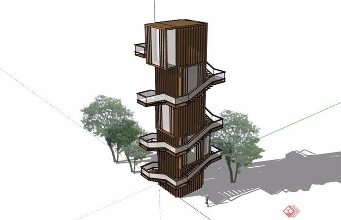 详细的完整景观塔素材设计su模型