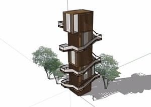 详细的完整景观塔素材设计SU(草图大师)模型