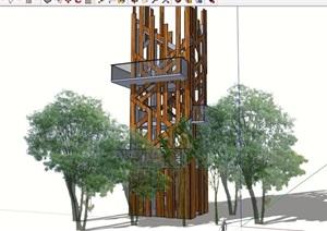 现代详细的完整景观塔素材设计SU(草图大师)模型
