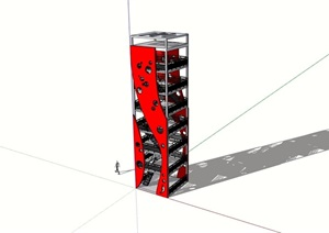现代详细的景观塔完整设计SU(草图大师)模型