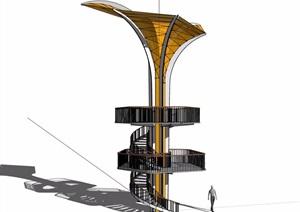现代经典详细的景观塔素材设计SU(草图大师)模型