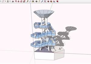 景观塔楼素材设计SU(草图大师)模型